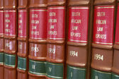 Legal Library in wooden bookcase - South African Law Reports — Stock Photo