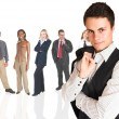 Formal businessman wearing a pinstripe suit, standing in front of a group of business — Stock Photo #22125543