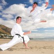 Young adult men with black belt practicing on the beach on a sunny day. - Stock Photo