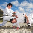 Young adult men with black belt practicing fighting — Foto Stock