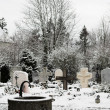 Graveyard covered in snow — Stock Photo