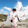 Stock Photo: Young adult men with black belt practicing fighting