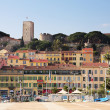 The skyline from the harbour square in Cannes, France - Stock Photo