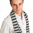 Stock Photo: Mwith white pinstripe shirt and scarf.