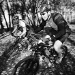 Panning shot of two mountain bikers — Stock Photo