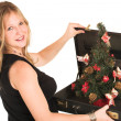 Stock Photo: Pregnant Business Woman, wearing black top, holding briefcase with Christamas Tree inside.