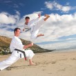Young adult men with black belt practicing on the beach on a sunny day - Stock Photo