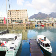 Two tourist boats in the Cape Town waterfront harbor - Stock Photo