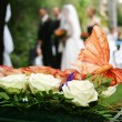 Butterfly decoration on wedding bouquet - Stok fotoğraf