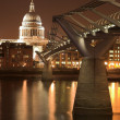 St Paul's Cathedral, accross the River Thames, next to the Millenium Brifge - ストック写真