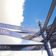A blue distance marker against a cloudy blue sky for the various cities in the world (in km) - Stock Photo