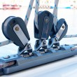 Close-up of pulley and ropes on a yacht - Stock Photo