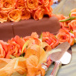 Stock Photo: Table with cake, and cakel ifter and cake knife