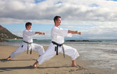 Young adult men with black belt practicing a Kata — Stock Photo