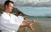 Young adult men with black belt practicing a Kata on the beach on a sunny day — Stock Photo