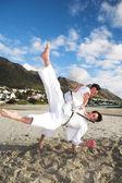 Young adult men with black belt practicing fighting on the beach on a sunny day — Stock Photo