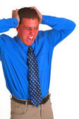 Red faced businessman screaming — Foto Stock