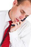Businessman sleeps by the phone — Stock Photo