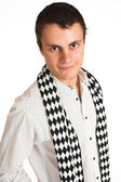 Man with white pinstripe shirt and scarf. — Stock Photo