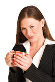 Business woman dressed in a pinstripe suit — Stock Photo