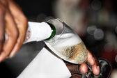 Pouring a champagne flute — Stock Photo