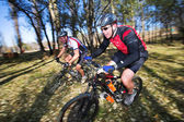 Panning shot of two mountain bikers, racing in a forest. — Stock Photo