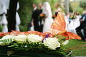 Butterfly decoration on wedding bouquet — Stock Photo