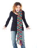 Cute young adult caucasian woman curly red hair — Stock Photo
