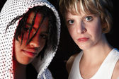 Female and male freestyle hip-hop dancers — Stock Photo
