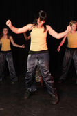 Group of female freestyle hip-hop dancers — Stock Photo