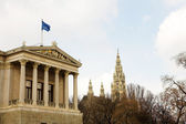 Parliament buildings in Vienna, Austria. Cloudy day at the end of winter — Stock Photo
