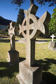 Irish Cross shaped old headstone of a grave made from granite — Stock Photo