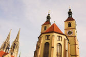 Cathedral in Regensburg, Germany during a sunny day in winter — Stock Photo