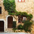 Stock Photo: Buildings with windows and doors in quaint little French hilltop village of Saint-Paul de Vence, Southern France,