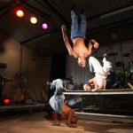 Three freestyle hip-hop dancers — Stock Photo