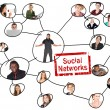 Linking grid of social networks of young adults of various nationalities — Stock Photo #22132639