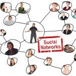 grille reliant des réseaux sociaux d'un jeune adultes de diverses nationalités — Photo