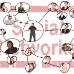 länka rutnät av sociala nätverk en unga vuxna som av olika nationaliteter — Stockfoto