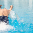 Healthy young adult male aquatic athlete. - Stock Photo