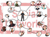 Linking grid of the social networks of a young adults of various nationalities — Stock Photo
