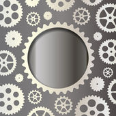 White gears on a dark background — Vector de stock