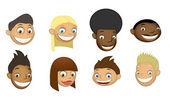 Set of children's heads — Stock Vector