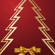 Christmas tree with golden bow — Imagen vectorial