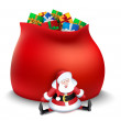 Santa claus with sack of gifts — Stock Vector