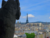 A Gargoyle's View of Paris and the Eiffel Tower — Stock Photo
