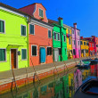 Pastel Shops Along a Canal in Burano — Stock Photo #23176738