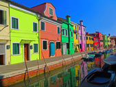 Pastel Shops Along a Canal in Burano — Stock Photo