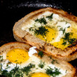 Egg in the bread — Stock Photo