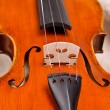 Close up of a violin on a beige background — Stok fotoğraf