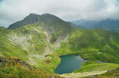 A view from a high peak with a glacial lake, Peak Iezer, Romania — Stock Photo